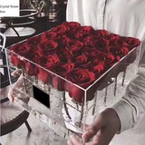 Acrylic transparent rose box with lid makeup manager for Valentine's Day