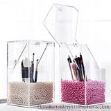 Acrylic Clear Transparent Makeup Brush Storage Box With Cover Plastic Makeup Organizer Cosmetic Tool